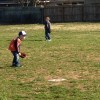 Hadley played a little third base on his first day of T-Ball practice.