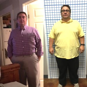 A photo of me this morning (left) and from March, when I started Ideal Protein.